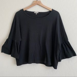 Madewell Black Cropped Ruffle Sleeve Top
